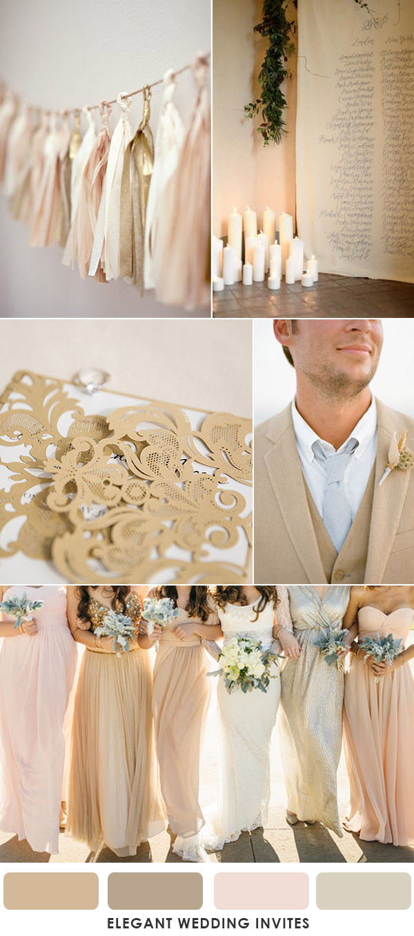 romantic light brown and blush modern summer wedding colors