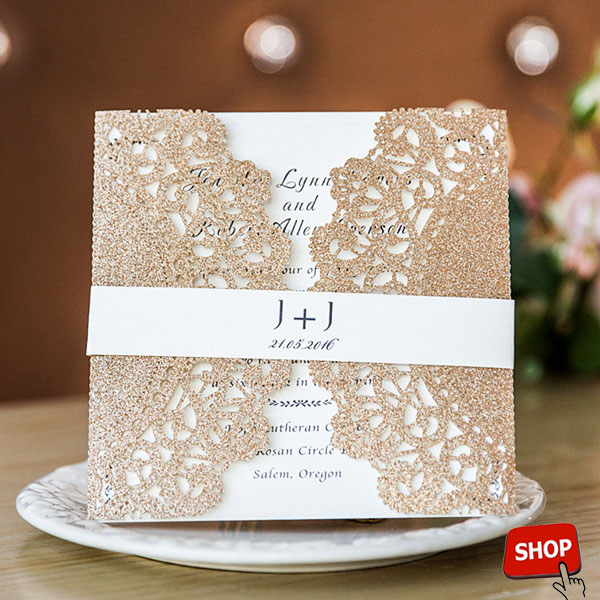 rose gold lace laser cut wedding invitations with printed belly band EWWS150
