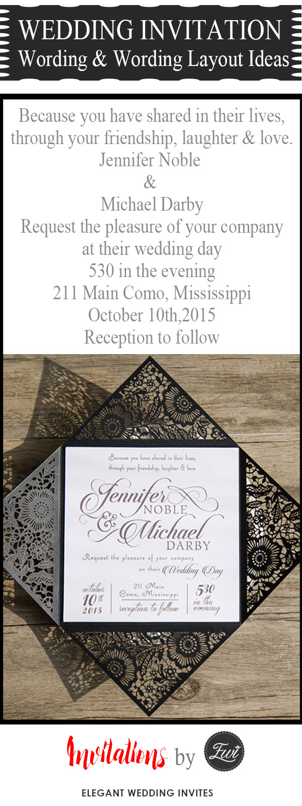 wedding invitaiton wording and wording layout ideas