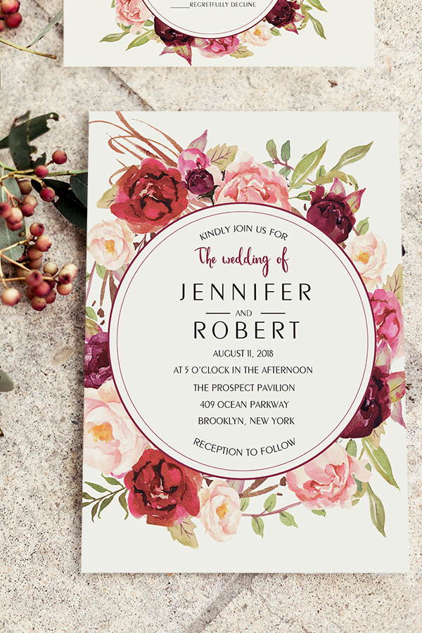 cheap burgundy floral boho wedding stationery