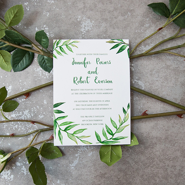 cheap spring greenery wedding stationery