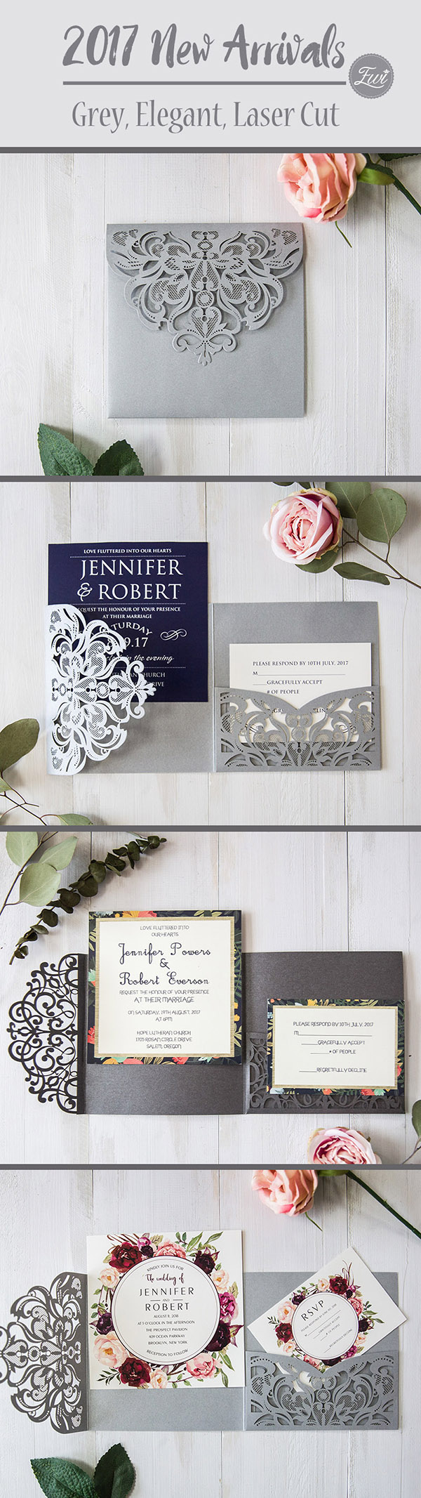 elegant gray laser cut wedding invitations with different inner cards