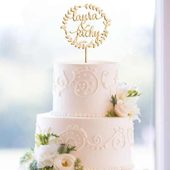 glittery custom monogram wedding cake topper
