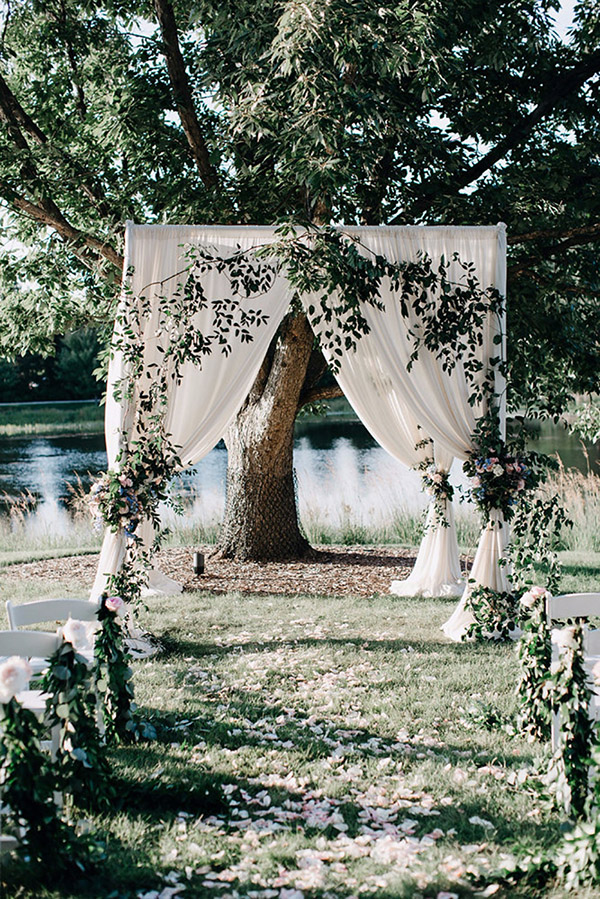 greenery spring outdoor garden wedding ceremony