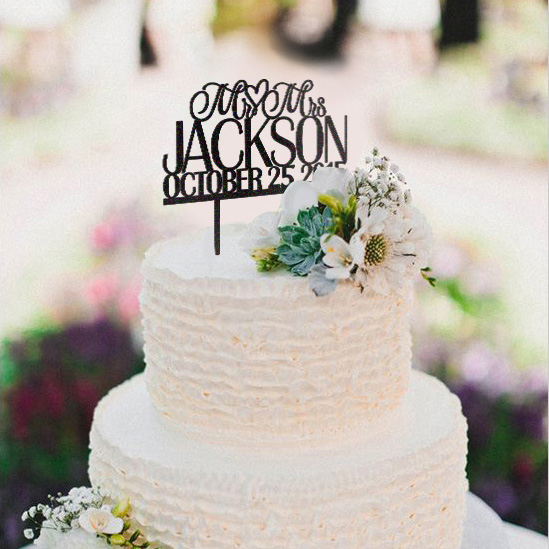 Mr and Mrs monogram wedding cake topper