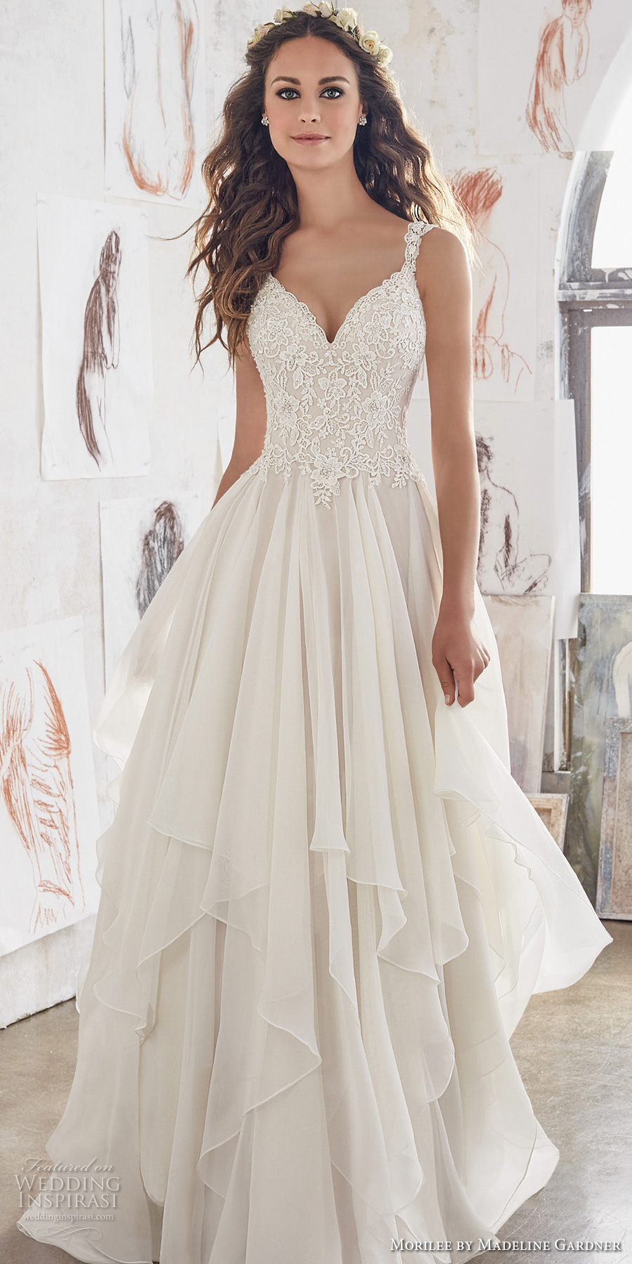 morilee spring 2017 bridal sleeveless sweetheat lace and tulle wedding dresses