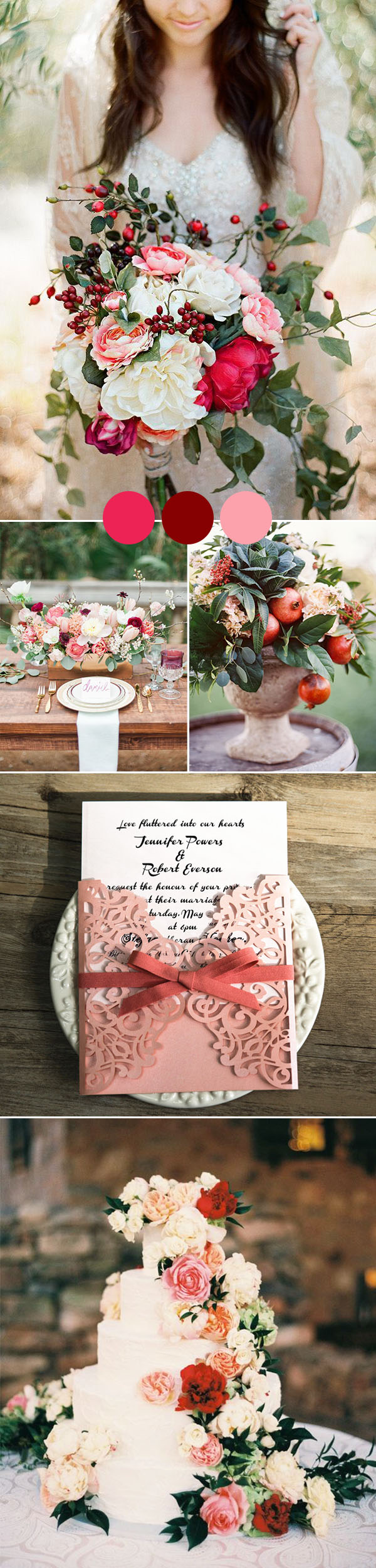 romantic cranberry and blush pink fall wedding colors