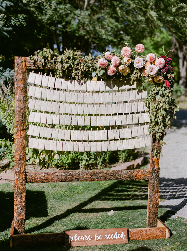 rustic garden wedding seating chart ideas
