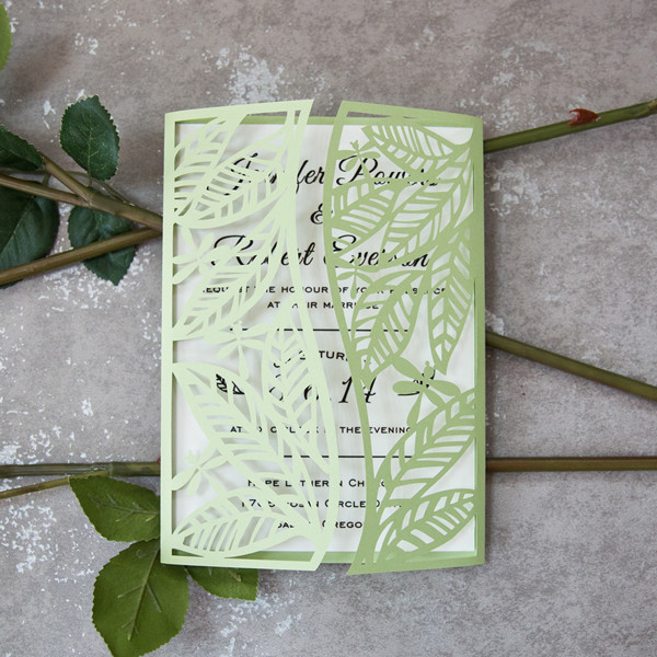 spring greenery leaf laser cut wedding invitations