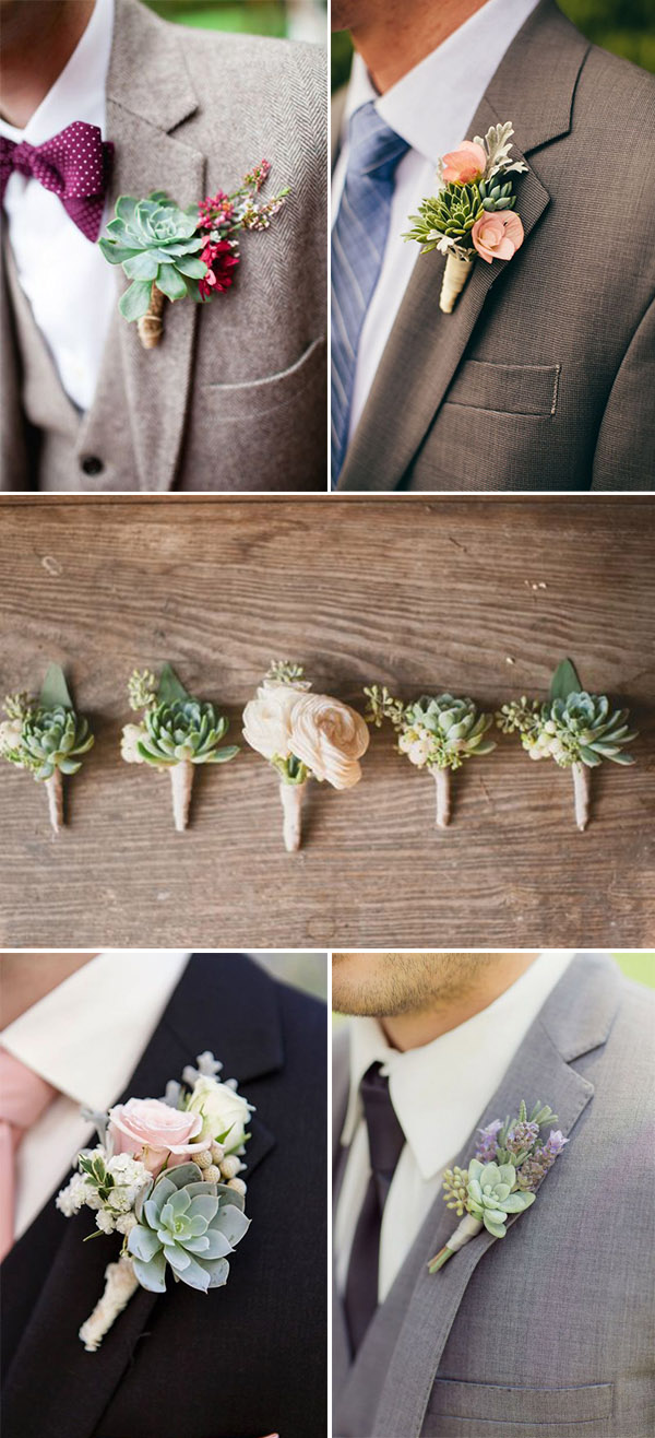 DIY succulent groom and groomsmen Boutonnieres