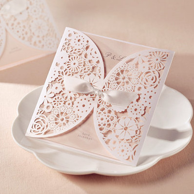 afforable laser cut lace wedding cards EWLS037