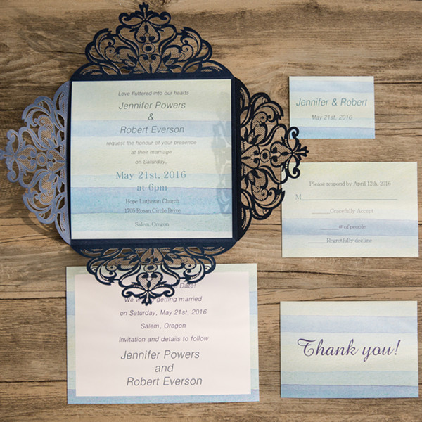 beach blue stripes summer laser cut wedding invitation EWWS079