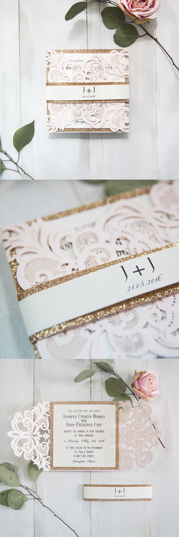 blush pink and glitter gold laser cut wedding invitations