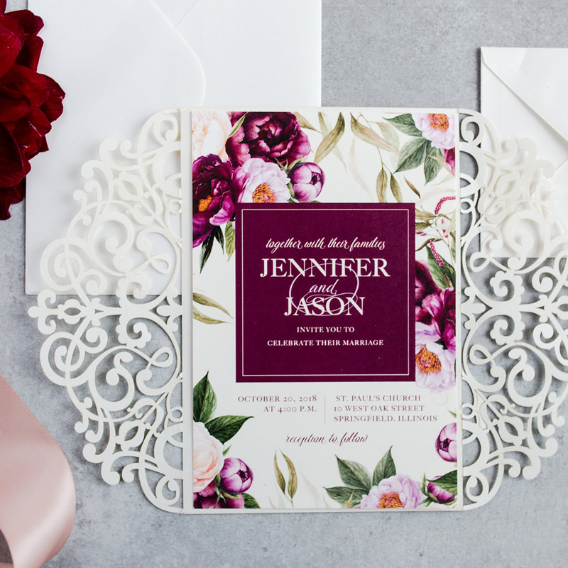 boho burgundy and fuchsia fall laser cut wedding invitations