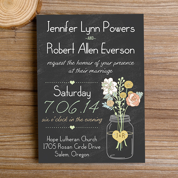 boho mason jars rustic floral chalkboard wedding invitations EWI3441