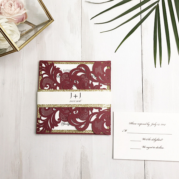 burgundy laser cut wedding invite with gold glittery belly band EWWS180