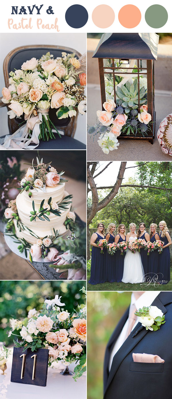 dark blue,peach and soft green garden wedding colors