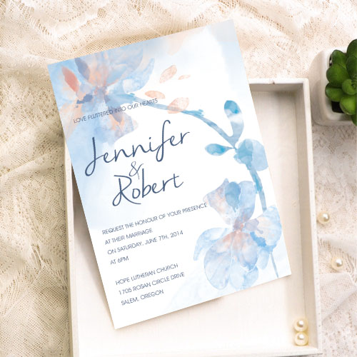 dusty blue and peach watercolor floral wedding invitation