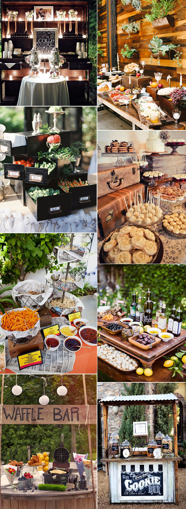 elegant and vintage wedding food bar ideas