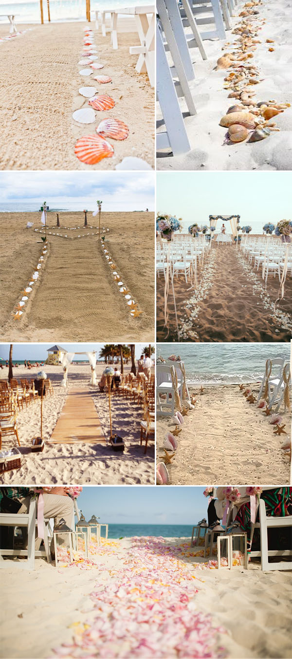 elegant beach themed wedding aisle with shell and starfish and flower