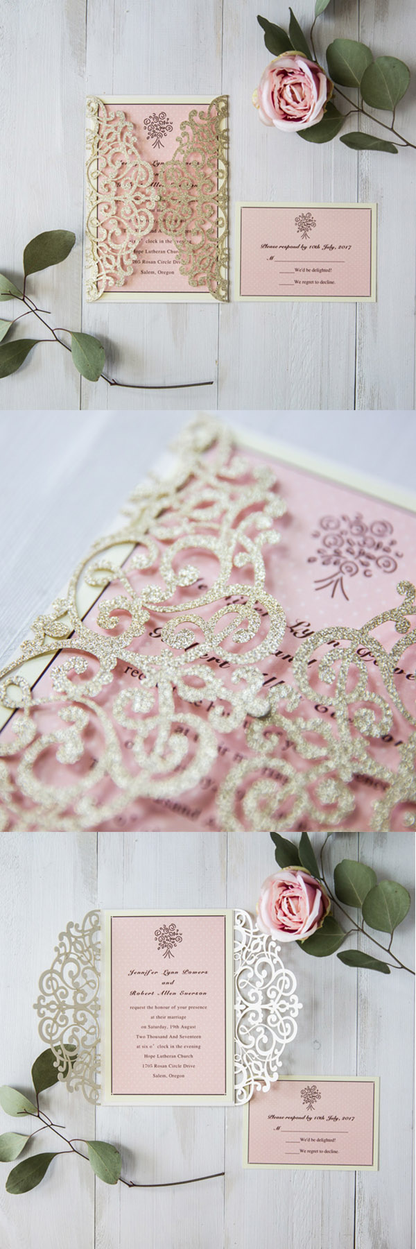 elegant glitter gold and pink vintage laser cut wedding invites