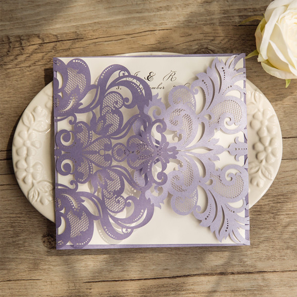 exquisite lavender laser cut wedding invitations