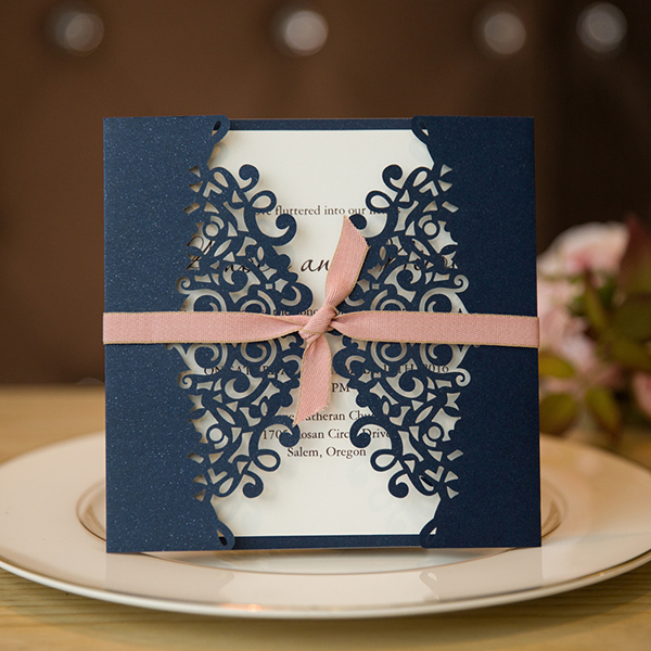 formal navy blue and pink laser cut wedding invitations
