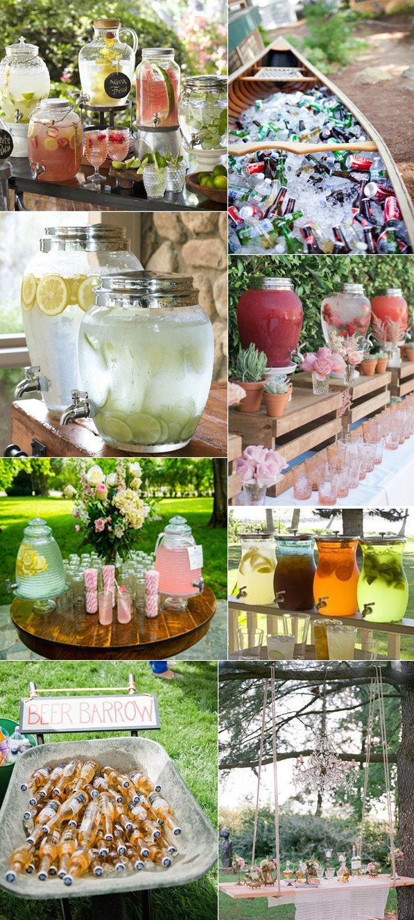 fresh awesome  and cool  wedding drink station ideas for summer