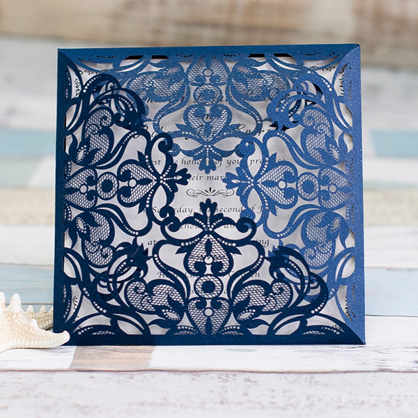 graceful navy blue laser cut wedding invitations EWWS030