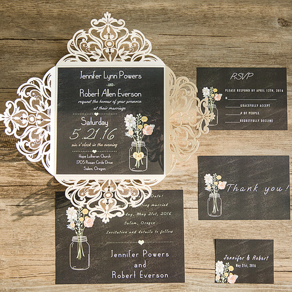 ivory laser cut chalkboard masion jar rustic wedding invitations EWWS0891