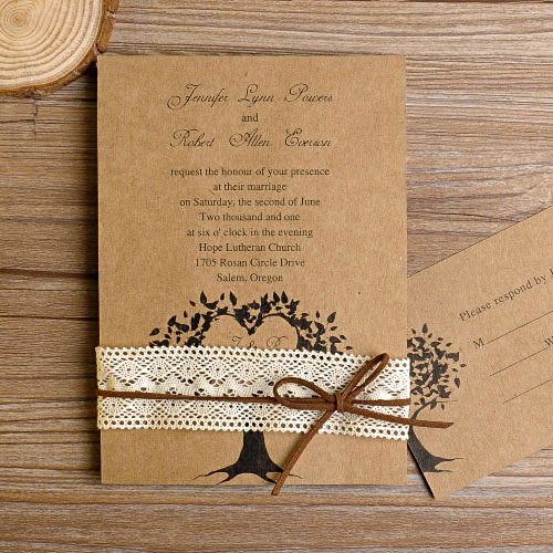 love tree rustic lace wedding invitation EWLS011