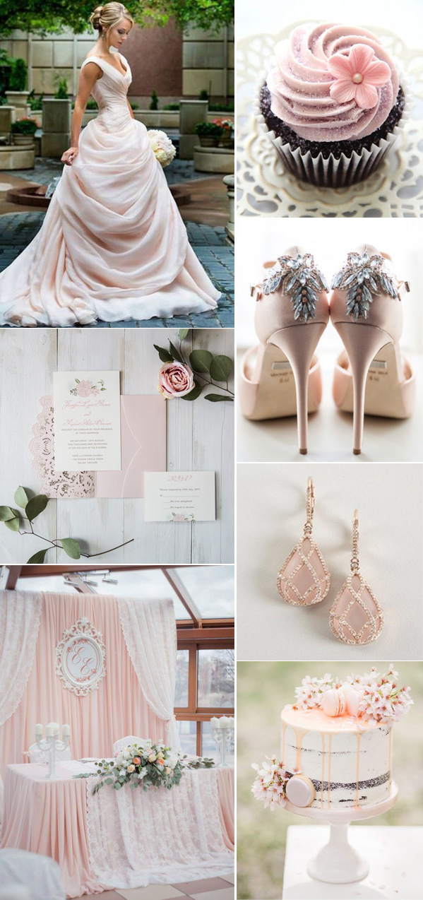 modern pretty light peach wedding color ideas with matching invitations