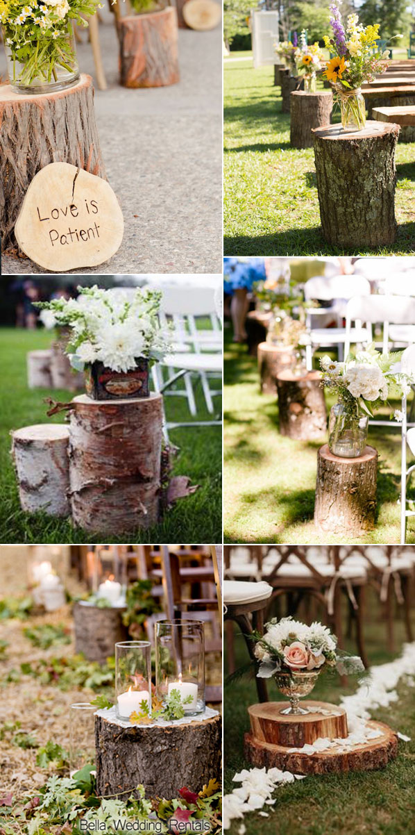natural wood for wedding aisle runner