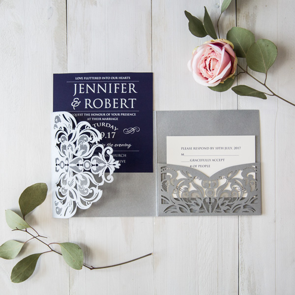 navy blue gray pocket laser cut wedding invitions EWWS176