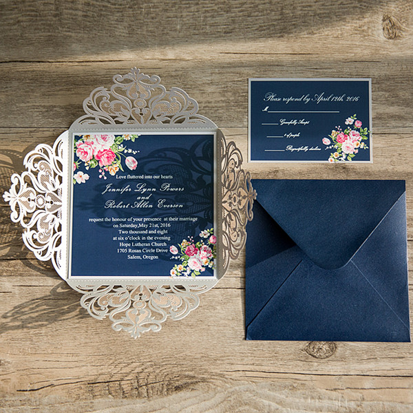 pink navy blue floral silver laser cut invitations