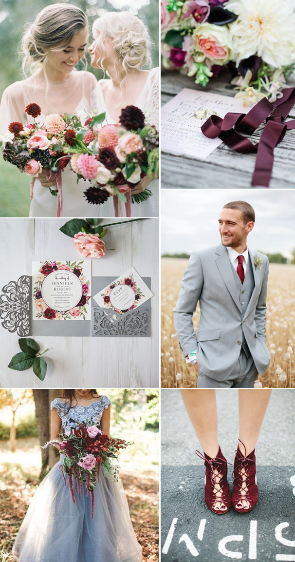 Por Gray And Burgundy Wedding Color Ideas With Invitation
