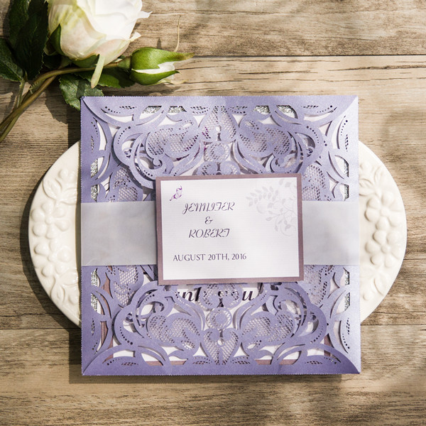 romantic lavender silver glittery laser cut wedding invitations