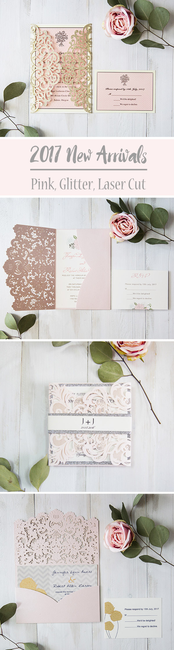 7 Super Elegant Pink Wedding Invitations from EWI 2017 New Arrivals