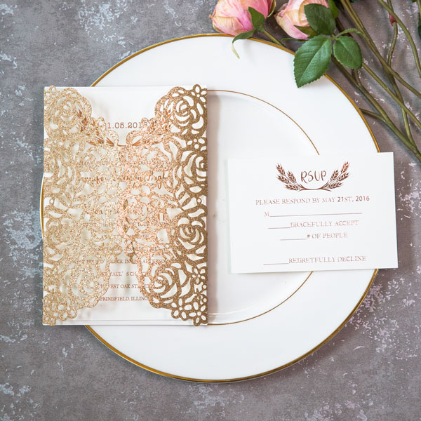 rose gold glitter laser cut wedding invitations