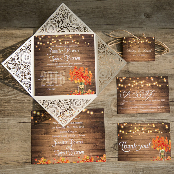 rustic stringlights maple leaf laser cut wedding invitations with twines EWWS096