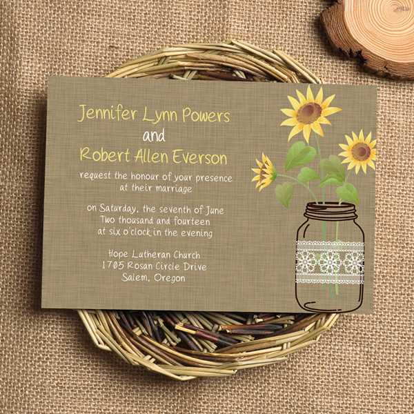 rustic sunflower mason jars wedding invitations EWI353
