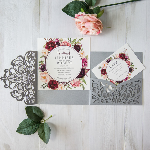 silver laser cut burgundy floral wedding invitations EWWS177