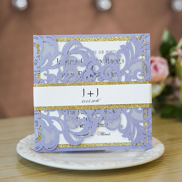 sweet lavender laser cut wedding invitations with glittery bottom cards and bands EWWS140