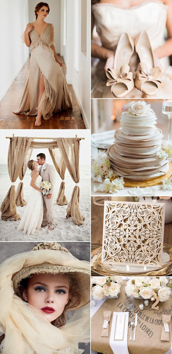 tropical elegant beige wedding color ideas with invitations