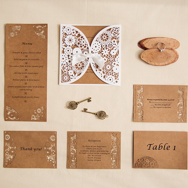 vintage laser cut wedding invites with matching enclosure cards EWWS131