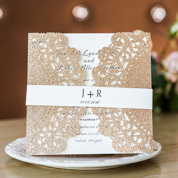 vintage rose gold laser cut wedding invitations