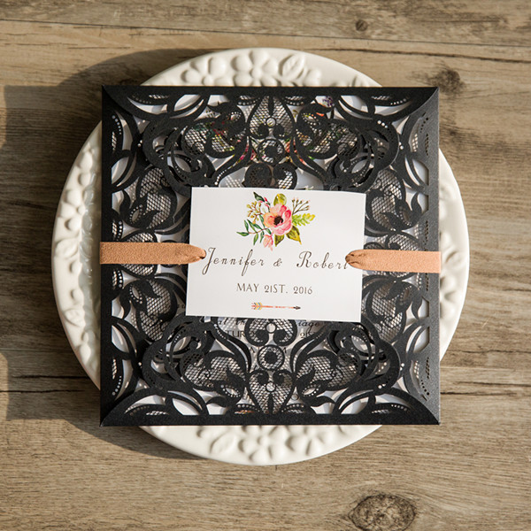 black laser cut deer rustic wedding invitation with suede ribbon EWWS094