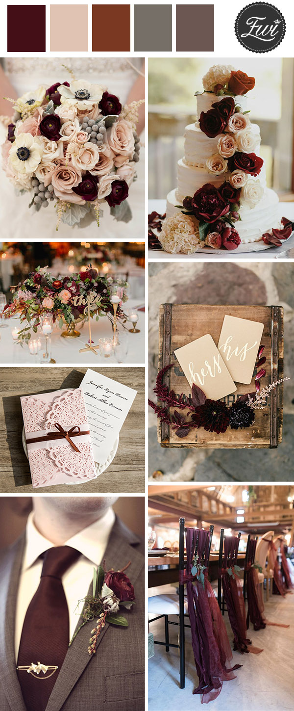 vintage burgundy and blush vintage wedding colors