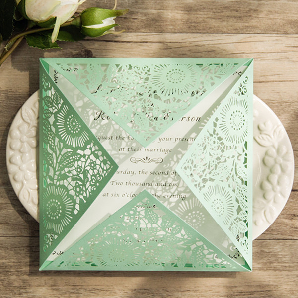 cheap simple classic mint green laser cut invitations EWWS1061
