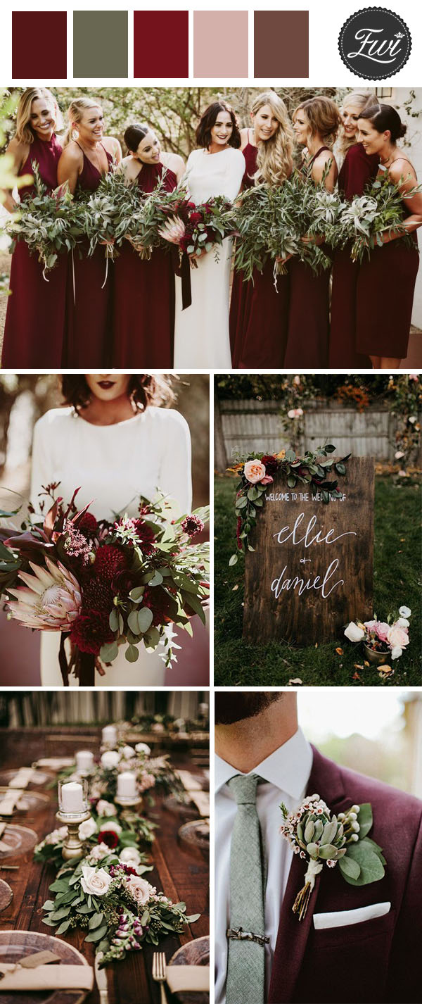 trendy dark moody burgundy and greenery organic fall wedding color palette